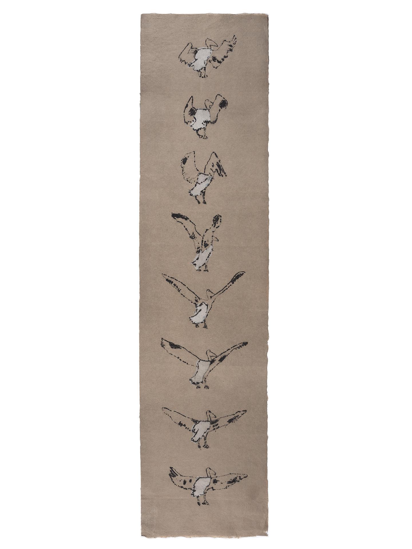 """<p><span style=""""font-size: 10pt;"""">Brigitte Corbisier, <em>Vol du pélican</em>, gravure à la pointe sèche deux couleurs, 2013, 97 x 24 cm ©Caroline Dethier</span></p>"""