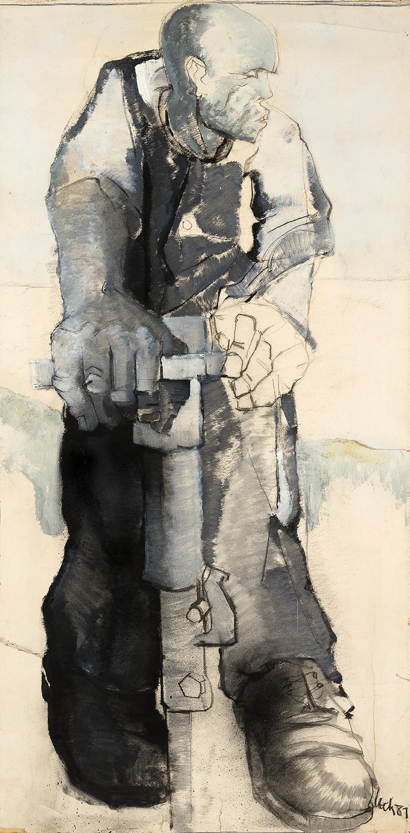 """<p><span style=""""font-size: 10pt;"""">Pierre Čech, peinture à l'eau, acrylique et fusain sur papier marouflé, 1981, 140 x 70 cm ©Caroline Dethier</span></p>"""