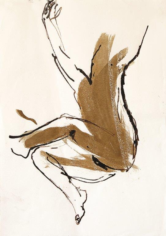 <p>Yves Barla,Corps assis bras en l'air, brou de noix sur papier, 2000, 30 x 21 cm ©Caroline Dethier</p>